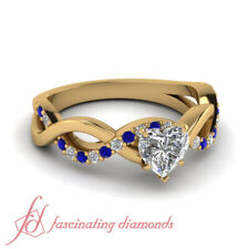 Intertwined Engagement Ring 0.80 Ct Heart Shape FLAWLESS Diamond & Blue Sapphire