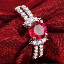 Fashion Red Garnet Birthstone Silver Filled Wedding Bridal Ring Gift Size 9