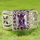 Noble Emerald Cut Amethyst & White Topaz Gemstones Silver Ring Size 7 8 9 10 New