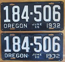 Oregon 1932 License Plate PAIR - EXCEPTIONAL QUALITY # 184-506