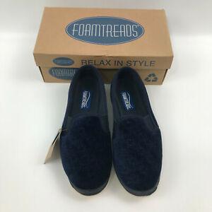 NIB Foamtreads Debbie Navy Blue comfort slippers size 7W