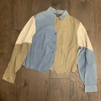 VTG Color Block Denim Cowgirl Western Button Up Shirt 90s Rodeo Womens L