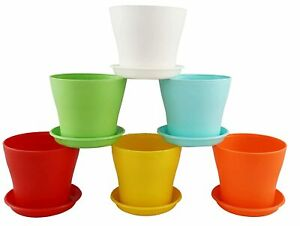 Plastic Gardening Pot, 6 Inches - Multicolour, Flower pot, Set of 6
