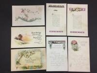 7 Vintage Victorian postcards Easter early 1920s chick flower church girl lilies