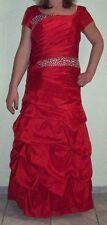 Rotes festliches Brautmutterkleid, Abendkleid Carmenstil mit silbernen Pailetten