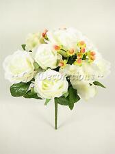 Flores Artificiales Crema Rosa Hortensia Hypericum Bush Boda Ramo Posy