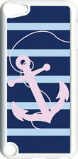 Striped Navy Blue and Pink Anchor Design on iPod Touch 5th Gen 5G White TPU Case