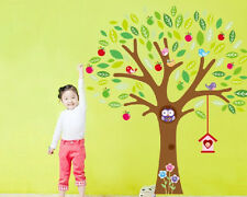 Large Cartoon Owls Apple Tree Wall Stickers Art Mural Decals Kids Nursery Decor
