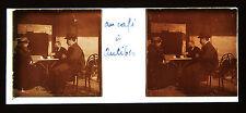 Antibes Au Café Côte d'Azur Stéréo 45x107mm Plaque de verre positive v. 1910