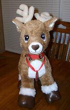 Build A Bear Plush REINDEER Stuffed Animal Blue Eyes Team Santa Bell Collar VGUC