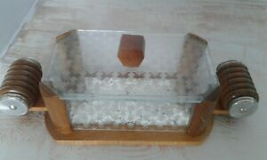 vintage French Art Deco wood & glass cheese or butter dish