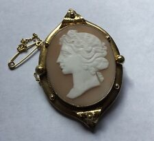 Victorian Large Gold Filled Gilt Carved Shell Cameo Lady Eliptical Frame