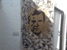 UNIQUE  ROGER MOORE JAMES BOND  SIGNED SPRAY PAINTED PAINTING ON SOFT BOARD