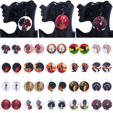 Fashion Women African Lady Natural Round Wood Disc Printed Earrings Hook Stud