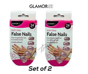 French Manicure Fake False Nails 24 Pack Soft Pink Set of 2 Glamorize