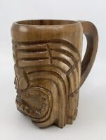 Hawaiian Carved Wood Tiki Face Mug Cup Monky Pod Tree Co Honolulu Original Label