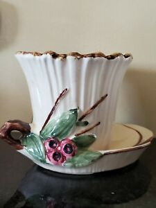 Vintage McCoy USA Pottery Flower Pot Planter Ivory Red Berries Attached Saucer