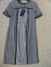 EX M&S NAVY MIX GEOMETRIC SPOT PRINT SHORT SLEEVE CREWE NECK TUNIC DRESS SIZE 8