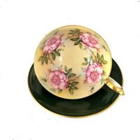 AYNSLEY Cabbage Rose Wide Mouth Green Teacup And Saucer