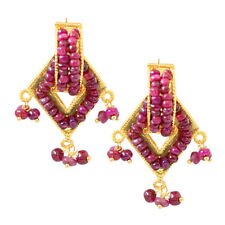 Real Red Ruby Beads & Geometrical Shaped Gold Plated Earrings for Women SE307