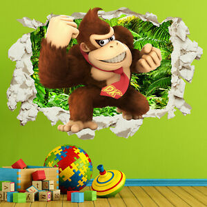 Donkey Kong Wall Sticker Decal in Crack Smashed Bedroom Kids Gift Home Decor