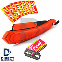 Orange Wood/H Straight Barber Hair Shaving Razor Trimmer Safety Knife +10 Blades