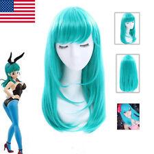 Dragon Ball Scultures Juegos con disfraces Peluca flequillo pelucas de cabello largo lacio Verde Envío a EE. UU.