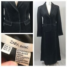 ZARA BASIC Size 8 BLACK LINEN JACKET & SKIRT 2 PIECE SUIT VGC