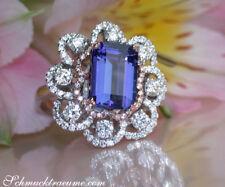 Nobel: Ausgefallener AAA Tansanit Ring mit Diamanten, 5.42 ct. WG RG 585 11200€