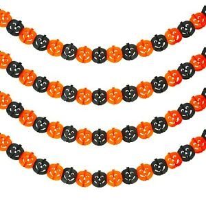 2 x Halloween Paper Garland Bunting Orange/Black Party Decoration 6m (Choose)