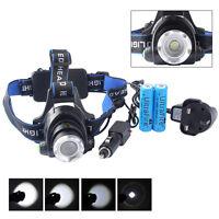 20000LM XM-L T6 LED Head Torch 18650 Headlamp Headlight + 2*18650 Battery