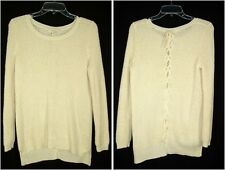 Olive & Oak Ivory Lace Back Sweater sz M Hi-Lo