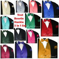 MEN SOLID PROM Tuxedo Suit Dress Vest Waistcoat & BOW TIE HANKIE Wedding 3 IN 1