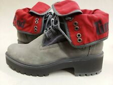 Timberland Women's NEW 6in premium grey and red fold down boots RARE