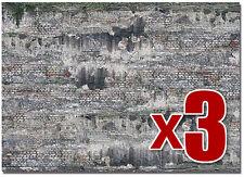 usé INDUSTRIEL mur de Pierre ( Busch 7415) - x 3 2 décor feuilles - F1