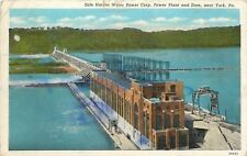 Near York PA~Safe Harbor Water Power Corp~Power Plant & Dam~Aerial View~1940s PC