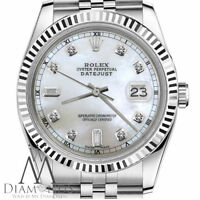 Rolex 31mm Datejust White Natural MOP Mother Of Pearl 6+9 Diamonds Track Watch