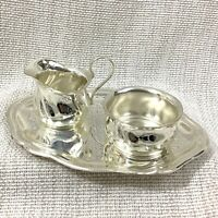 Vintage Silver Plated Cream Jug and Sugar Bowl Set Tea Tray Art Nouveau