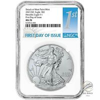 🇺🇸2021 (W) $1 American Silver Eagle NGC MS70 First Day Issue  First Day Label