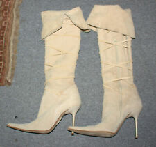 Beige Female thigh high boots with laces and spike heels size 40 eu