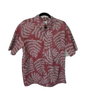 Reyn Spooner Mens Reverse Print Hawaiian Shirt Cotton Polyester Short Sleeve L