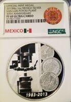 2013 MEXICO SILVER MEDAL SAN LUIS POTOSI PLANT ANNIVERSARY NGC PF 69 ULTRA CAMEO