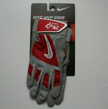 Nike Unisex Adult Size Small Red Grey MVP Edge Batting Gloves