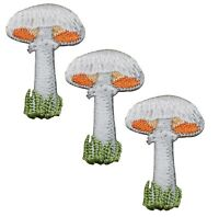 White Mushroom with Grass Applique Patch (3-Pack, Iron on)