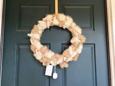 "NWT Anthropologie Wreath with door hook Christmas Ornament / Decoration 17"" wool"
