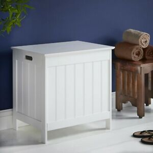 Spacious Wooden Laundry Basket Hamper White Colonial Style Washing With Lid