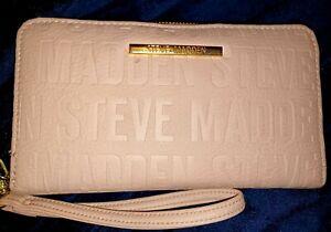 Steve Madden pink logo wristlet wallet clutch credit cards goldtone hardware