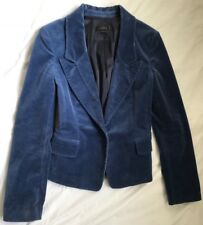 Korean Fashion Jigott Women's One Button Velvet Blazer Jacket-Blue Casual Size X
