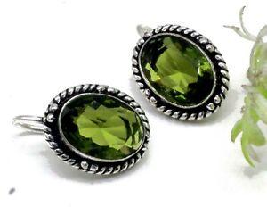 """925 Sterling Silver Green Peridot Gemstone Handmade Jewelry Earrings Size-1"""""""