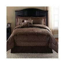 Full /Queen Comforter Bed Set 7 Piece Animal Print Safari Bedding Modern Brown